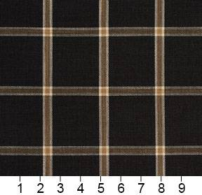 Essentials Black Brown Beige Checkered Plaid Upholstery Drapery Fabric / Onyx Windowpane