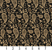Load image into Gallery viewer, Essentials Black Brown Beige Upholstery Fabric / Espresso Paisley