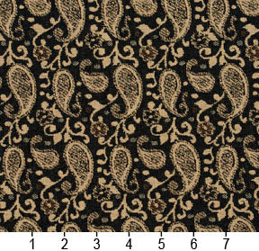 Essentials Black Brown Beige Upholstery Fabric / Espresso Paisley