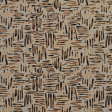 Load image into Gallery viewer, Essentials Black Brown Dark Salmon Coral Gray Abstract Upholstery Fabric / Curry Tally