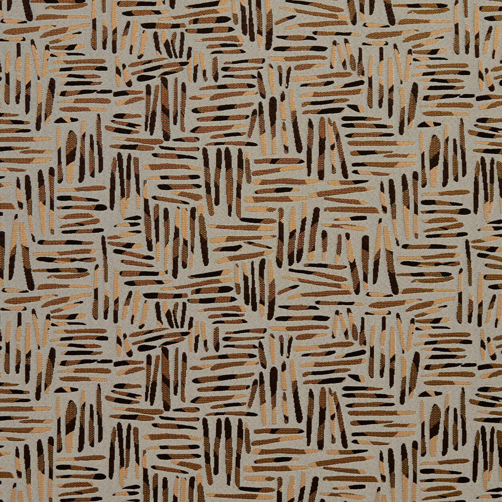 Essentials Black Brown Dark Salmon Coral Gray Abstract Upholstery Fabric / Curry Tally