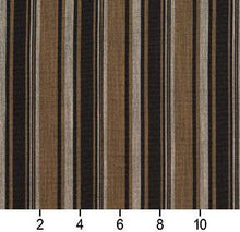 Load image into Gallery viewer, Essentials Black Brown Gray Upholstery Drapery Fabric / Onyx Stripe