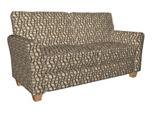 Load image into Gallery viewer, Essentials Black Brown Tan Beige Wavy Trellis Upholstery Fabric / Nutmeg Maze