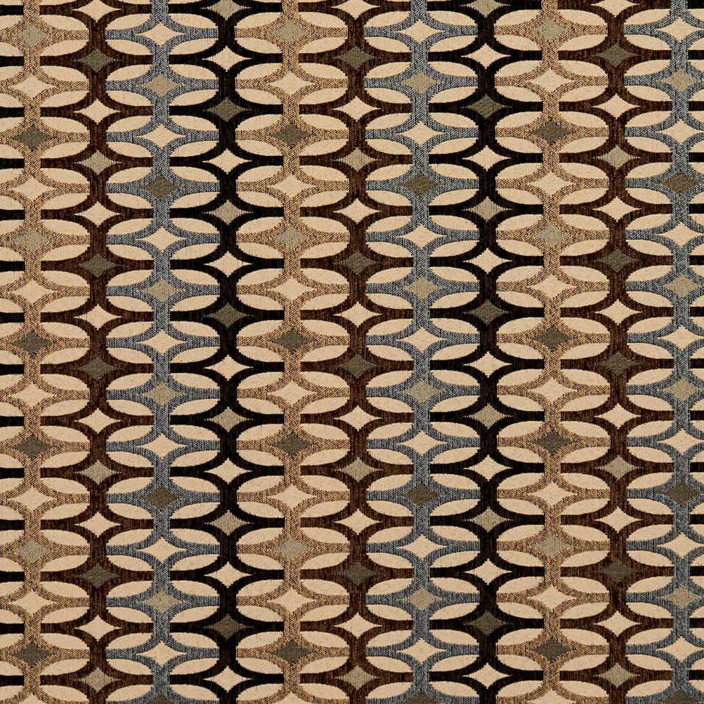 Essentials Black Brown Tan Gray Beige Cream Geometric Upholstery Fabric / Nutmeg Interlock