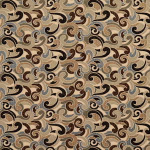 Essentials Black Brown Tan Gray Beige Cream Paisley Upholstery Fabric / Nutmeg Flutte