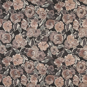 Essentials Cityscapes Black Brown Tan Gray Botanical Leaf Upholstery Drapery Fabric