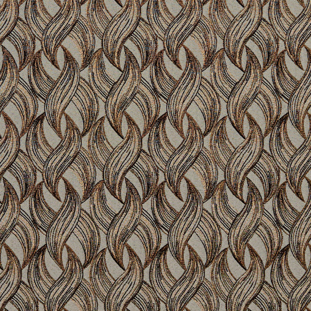 Essentials Black Gold Cream Gray Chain Upholstery Fabric / Curry