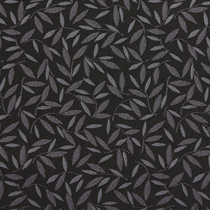Essentials Black Ivory Leaf Branches Upholstery Drapery Fabric / Charcoal