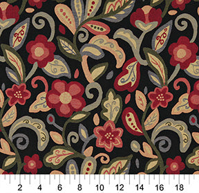 Essentials Cityscapes Black Maroon Blue Green Coral Mustard Floral Upholstery Drapery Fabric