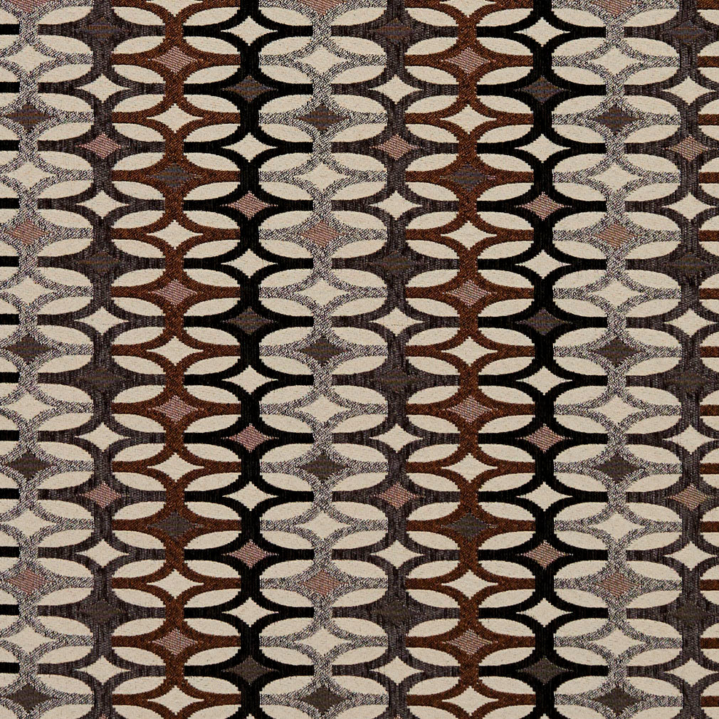 Essentials Black Mauve Brown Gray Ivory Geometric Upholstery Fabric / Bronze Interlock