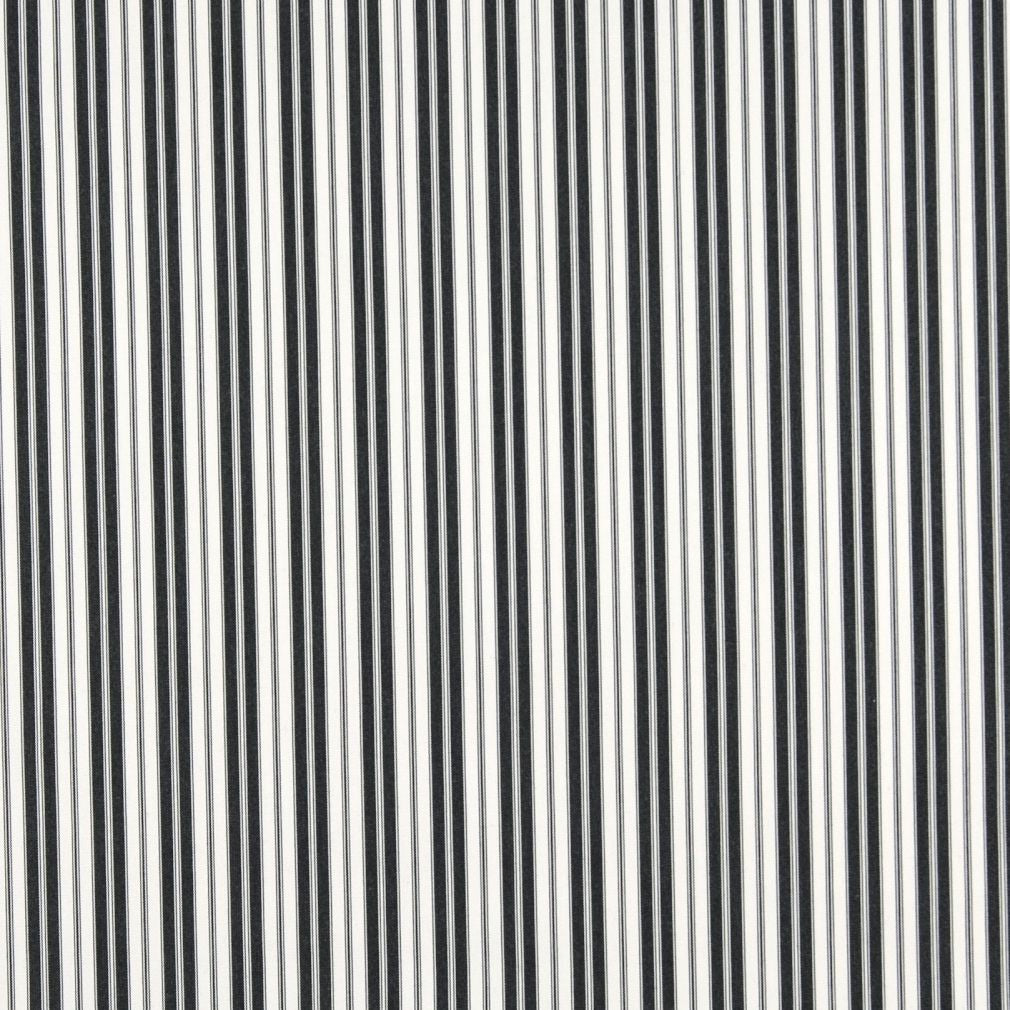 Essentials Outdoor Black White Midnight Classic Stripe Upholstery Fabric