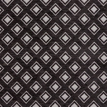 Load image into Gallery viewer, Essentials Chenille Black White Geometric Diamond Upholstery Fabric