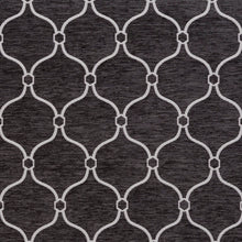 Load image into Gallery viewer, Essentials Chenille Black White Geometric Trellis Upholstery Fabric
