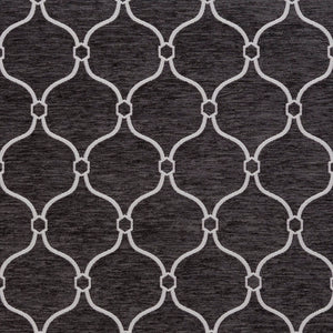 Essentials Chenille Black White Geometric Trellis Upholstery Fabric