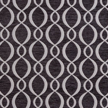 Load image into Gallery viewer, Essentials Chenille Black White Oval Trellis Upholstery Fabric