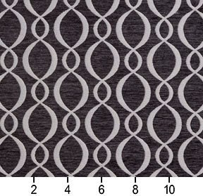 Essentials Chenille Black White Oval Trellis Upholstery Fabric
