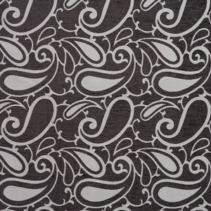 Essentials Chenille Black White Paisley Upholstery Fabric