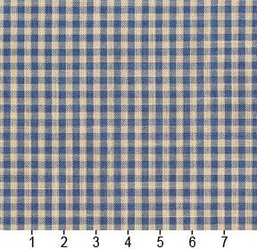 Essentials Blue Beige Checkered Upholstery Drapery Fabric / Wedgewood Gingham