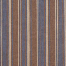 Load image into Gallery viewer, Essentials Blue Brown Beige Upholstery Drapery Fabric / Wedgewood Stripe