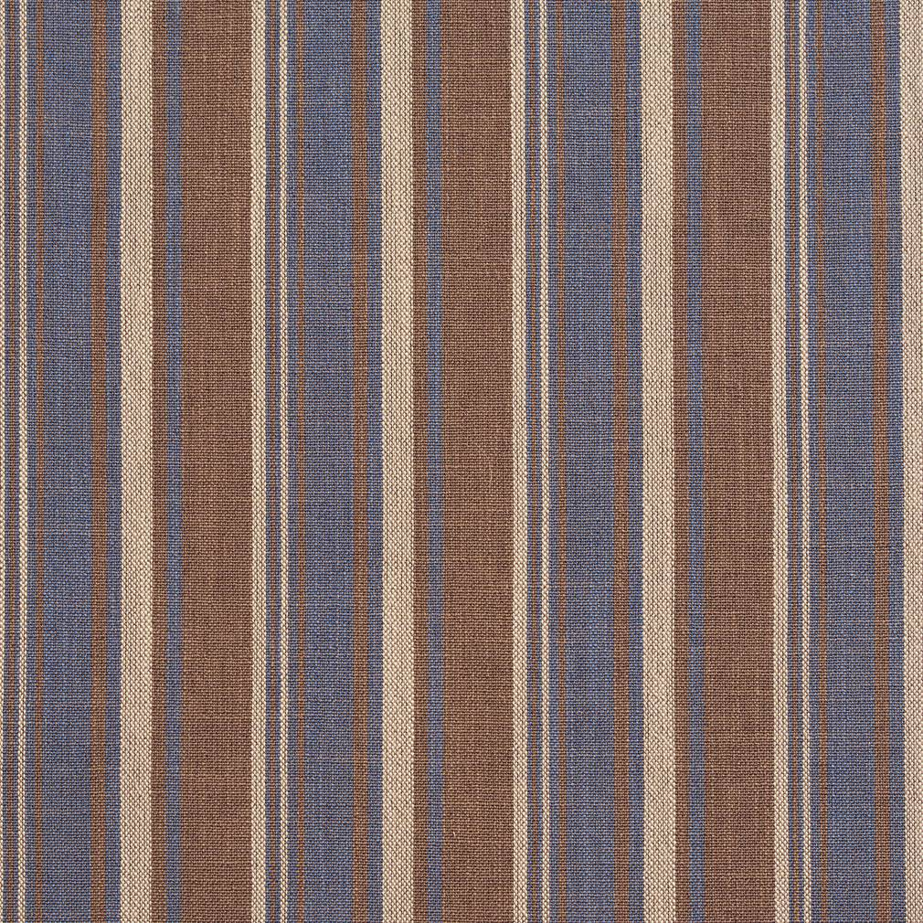 Essentials Blue Brown Beige Upholstery Drapery Fabric / Wedgewood Stripe