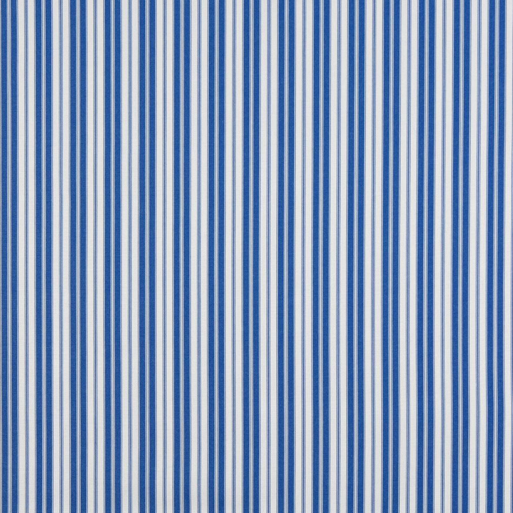 Essentials Outdoor Blue White Coastal Classic Stripe Upholstery Fabric