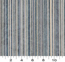 Load image into Gallery viewer, Essentials Blue Cream Navy Beige Stripe Velvet Upholstery Fabric