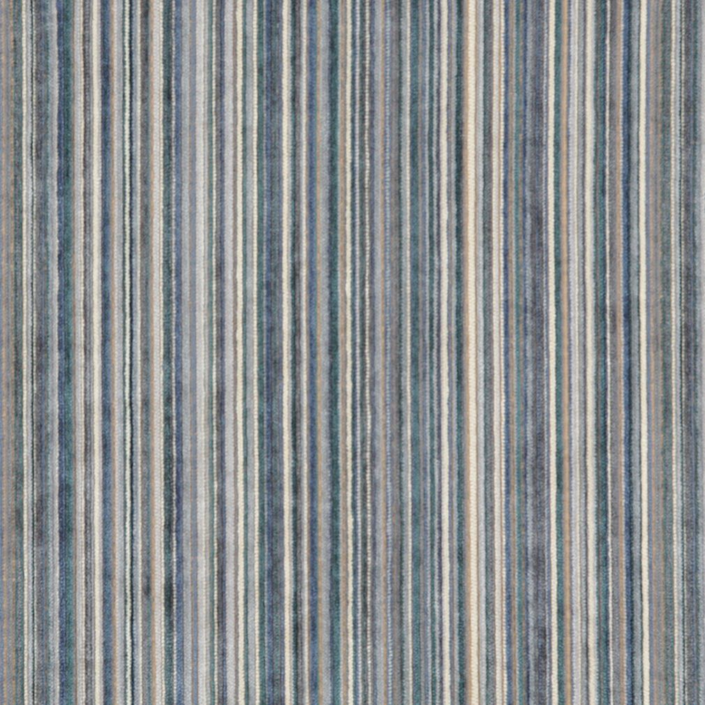 Essentials Blue Cream Navy Beige Stripe Velvet Upholstery Fabric
