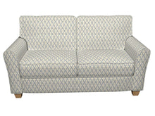 Load image into Gallery viewer, Essentials Blue Ivory Embroidered Trellis Geometric Drapery Upholstery Fabric