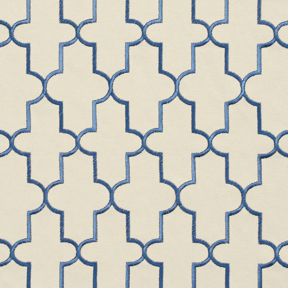 Essentials Blue Ivory Embroidered Trellis Geometric Drapery Upholstery Fabric