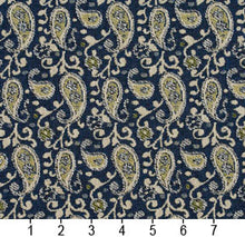 Load image into Gallery viewer, Essentials Blue Lime Beige White Upholstery Fabric / Laguna Paisley