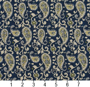 Essentials Blue Lime Beige White Upholstery Fabric / Laguna Paisley