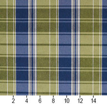 Load image into Gallery viewer, Essentials Blue Lime White Checkered Upholstery Fabric / Laguna Plaid