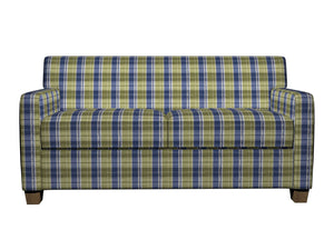 Essentials Blue Lime White Checkered Upholstery Fabric / Laguna Plaid