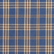 Load image into Gallery viewer, Essentials Blue Navy Beige Checkered Plaid Upholstery Drapery Fabric / Wedgewood Tartan