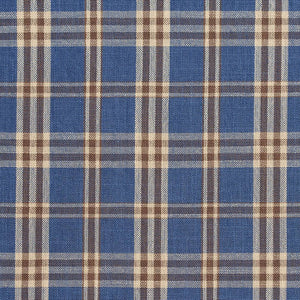 Essentials Blue Navy Beige Checkered Plaid Upholstery Drapery Fabric / Wedgewood Tartan