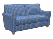 Load image into Gallery viewer, Essentials Blue Navy Beige Checkered Plaid Upholstery Drapery Fabric / Wedgewood Windowpane