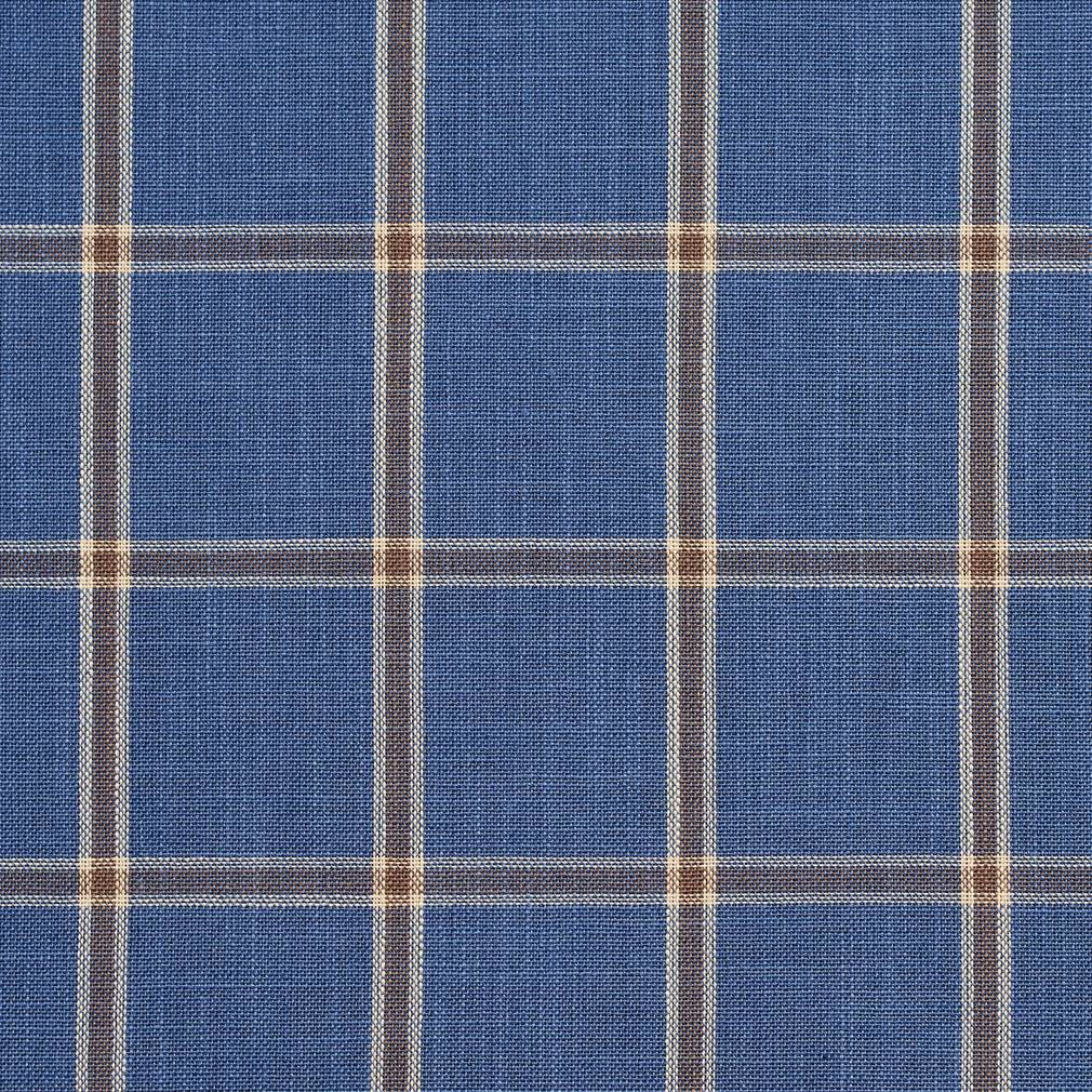 Essentials Blue Navy Beige Checkered Plaid Upholstery Drapery Fabric / Wedgewood Windowpane