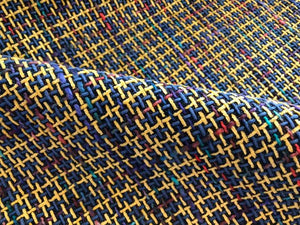 Blue Navy Purple Yellow Coral Lilac Turquoise Basketweave Woven Modern Upholstery Fabric