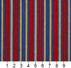 Essentials Blue Red Beige Lime Upholstery Fabric / Patriot Stripe