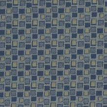 Load image into Gallery viewer, Essentials Stain Repellent Upholstery Fabric Blue / Squares Navy