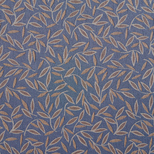 Essentials Blue Tan Leaf Branches Upholstery Drapery Fabric / Wedgewood