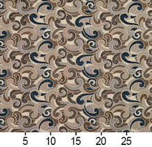 Load image into Gallery viewer, Essentials Blue Tan Brown Gray Beige Cream Paisley Upholstery Fabric / Royal Flutte