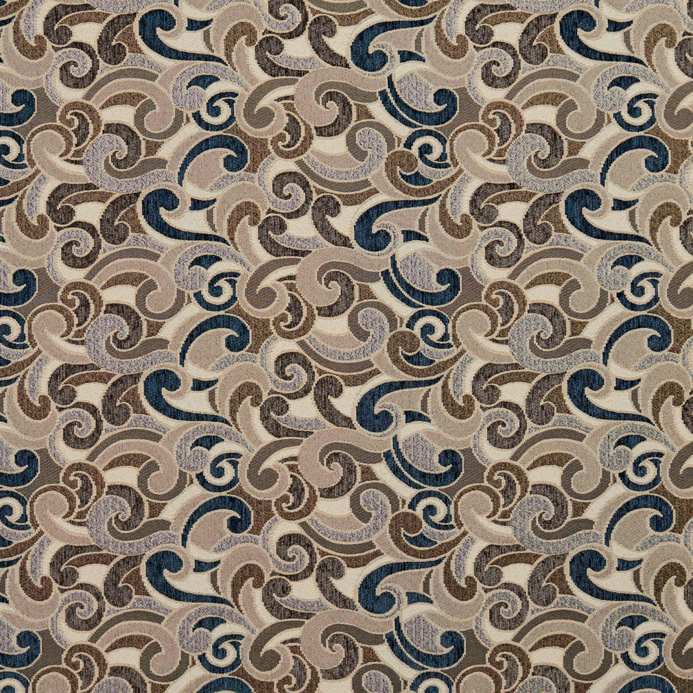 Essentials Blue Tan Brown Gray Beige Cream Paisley Upholstery Fabric / Royal Flutte