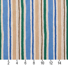 Load image into Gallery viewer, Essentials Blue Teal Ivory Tan White Stripe Upholstery Drapery Fabric