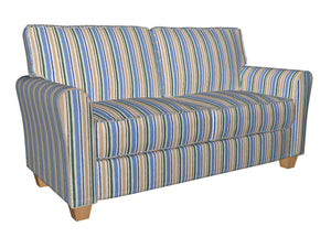 Essentials Blue Teal Ivory Tan White Stripe Upholstery Drapery Fabric