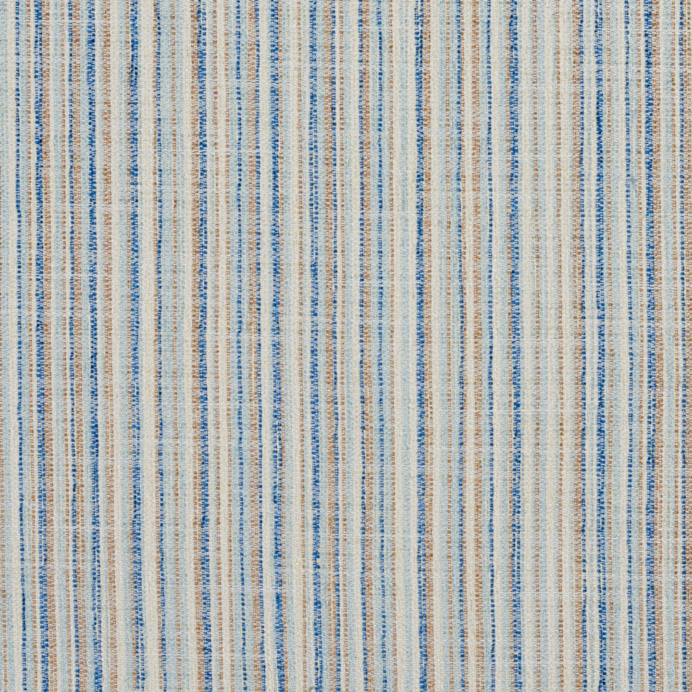 Essentials Blue White Beige Brown Stripe Nautical Upholstery Fabric