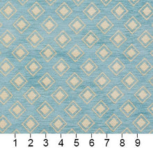 Load image into Gallery viewer, Essentials Chenille Blue White Geometric Diamond Upholstery Fabric