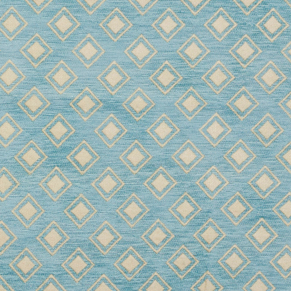 Essentials Chenille Blue White Geometric Diamond Upholstery Fabric
