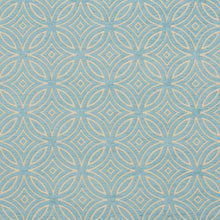 Load image into Gallery viewer, Essentials Chenille Blue White Geometric Medallion Upholstery Fabric