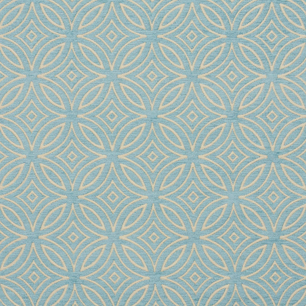 Essentials Chenille Blue White Geometric Medallion Upholstery Fabric